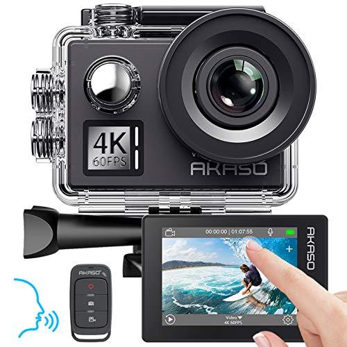 AKASO Action cam 4K/60fps /Action Kamera 20MP WiFi mit Touchscreen EIS 40M unterwasserkamera V50 Elite mit 8X Zoom Sprachsteuerung Fernbedienung Zubehör Kit...