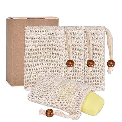 Pretop 4x Seifensäckchen Bio, Seifensäckchen Sisal, Seifenbeute Natur, Aufschäumen und Trocknen der Seife, Peeling, Massage, Seifenbeutel   Seifensack  ...