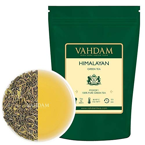 Green tea leaves from the Himalayas 100 grams (50 cups) - detoxifying, weight-reduced tea, 100% pure green tea from the highland plantations in Darjeeling | ...