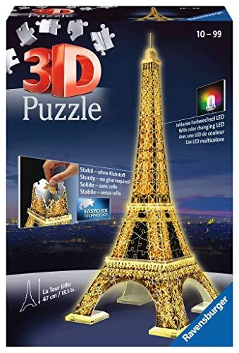 Ravensburger 3D Puzzle Eiffelturm bei Nacht mit 216 Teilen, für Kinder und Erwachsene, Wahrzeichen von Paris im Miniatur-Format, Leuchtet im Dunkeln