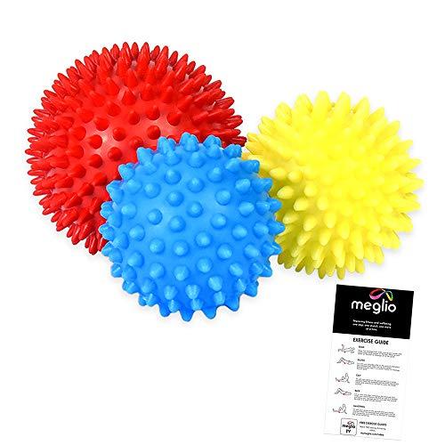 meglio spiked massage balls for deep tissue massage, set of 3 spiked massage balls for trigger point treatment & myofascial relaxation, stress reflex zone massage ...