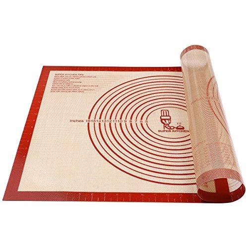 Antihafte Rutschfeste Backunterlage/Backmatte Silikon Groß 71x51cm Ausrollmatte Teigmatte Silikonmatte Backfolie Arbeitsmatte mit Messung für Fondant Gebäck Pizza...