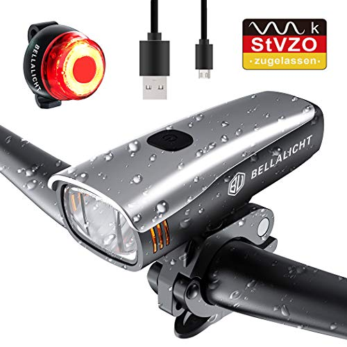 BELLALICHT LED Bicycle Light Set - Bicycle Lights StVZO Approved 60 Lux 2 Modes Bicycle Lights USB Rechargeable 2600mAh Samsung Li-ion Front Rear Bicycle Lamp ...