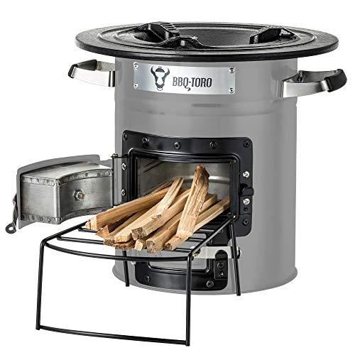 BBQ-Toro Raketenofen Rakete #2 I Rocket Stove für Dutch Oven, Grillpfannen und vieles mehr (Grau)