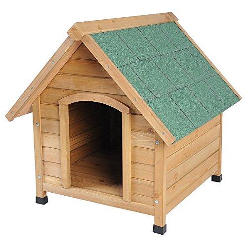 EUGAD 0037HT Hundehütte Massivholz Hundehaus Hundehöhle Wetterfest draußen Spitzdach Hellbraun 72 x 76 x 76 cm