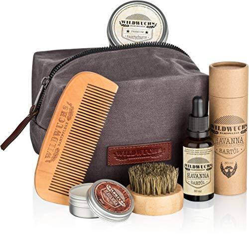 Bartpflegeset Männer hochwertig komplett von Wildwuchs Bartpflege - Bartpflege Set für gesundes Bartwachstum (5-teiliges Bart Set mit Bartöl, Bartwachs, Bartkamm,...