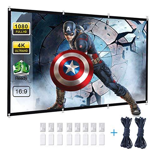 Powerextra HD 16: 9 271x154cm(120 Zoll) Projektion Leinwand - Keine Falte tragbare Tasche Projektionswand Unterstützung Doppelseitigen Projektion für Heimkino und...
