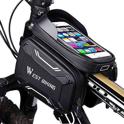 WESTGIRL Fahrrad Rahmentasche wasserdicht - Fahrradtasche Oberrohrtasche Handy Tasche geeignet für 6,2' Smartphone, Sensitive Touch-Screen, große...