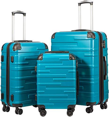 COOLIFE Hartschalen-Koffer Rollkoffer Reisekoffer Vergrößerbares Gepäck (Nur Großer Koffer Erweiterbar) ABS Material mit TSA-Schloss und 4 Rollen(Türkisblau,...