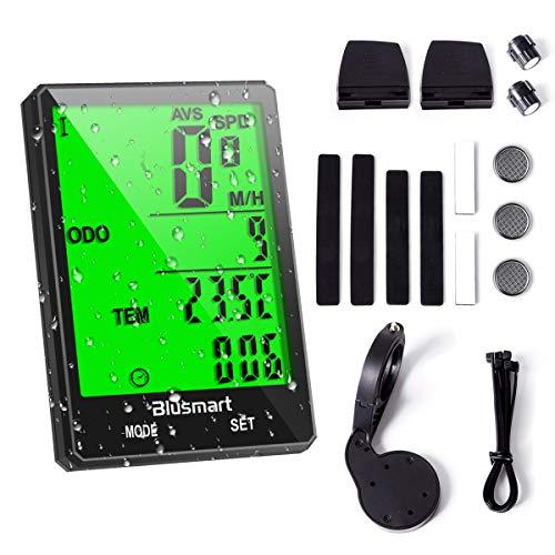 Blusmart Fahrradcomputer Kabellos Fahrrad Computer Wasserdicht 21 Funktionen Fahrradtacho Wireless Tachometer LCD-Display Automatische Geschwindigkeit für Radsport...