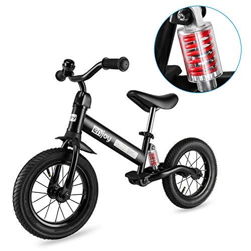 Besrey Laufräder Laufrad Mit Stoßdämpfern und 12-Zoll-Luftreifen. Der Griff und die Sitzhöhe sind einstellbar. 3-6 Jahre. Schwarz.