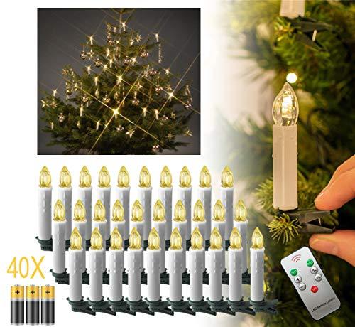 Aufun 40 Stück Warmweiß Weinachten LED Weihnachtskerze, Mini Christbaumkerzen Flammenlose Lichterkette mit Fernbedienung Kabellos und Batterie für Weihnachtsbaum,...