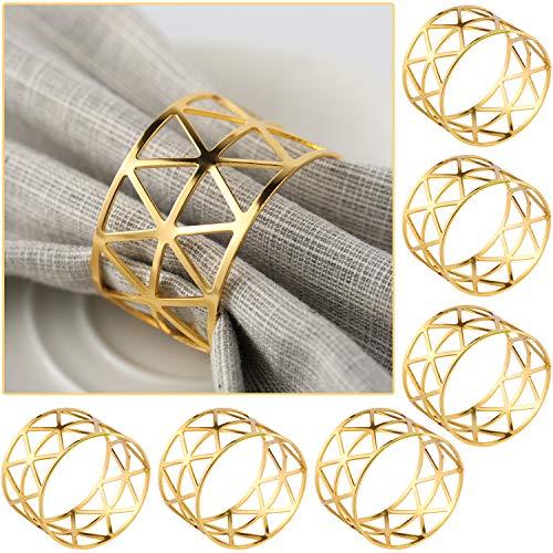 COCHIE Serviettenringe Gold, Metall serviettenring Serviettenschnallen Blätter für Hochzeitsfeier Abendessen Jubiläum Tischdekoration 6 Stück