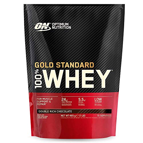Optimaalinen ravitsemus kultainen standardi heraproteiinijauhe, proteiinijauhe lihaksen rakentamiseen, sisältää luonnollisesti BCAA: ta ja glutamiinia, Double Rich Chocolate, 15 annosta, ...