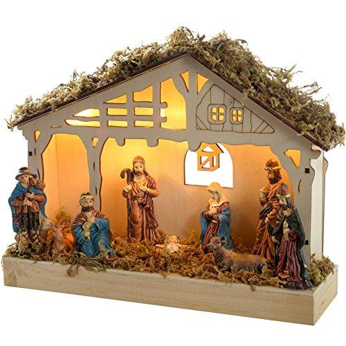 WeRChristmas Weihnachtskrippe, 26cm breit, aus Holz, beleuchtet mit 5warmweißen LED-Lichtern
