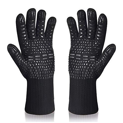 Karrong Grillhandschuhe Ofenhandschuhe Hitzebeständig bis zu 800 ° C Kochhandschuhe Grill BBQ Handschuhe (Schwarz)