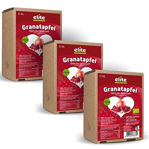3 x 3 Liter Bio Granatapfel Direktsaft (Muttersaft), naturtrüb und ungefiltert, Bio Granatapfelsaft in der Box
