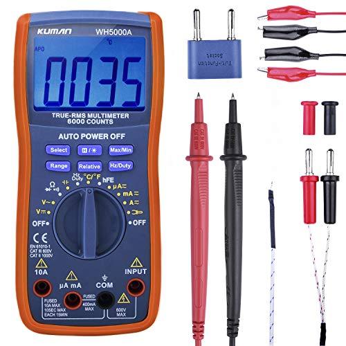 kuman Digital Multimeter, True RMS6000 zählt Multimeters Manuelle und Auto-Rang, Misst Spannung, Strom, Widerstand, Kontinuität, Kapazität, Frequenz, Testet...