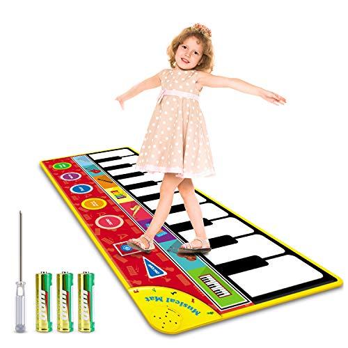 Magicfun Tanzmatte für Kleinkinder, Musikmatte Klaviermatte Spielzeug, Musikteppich Tanzmatten mit 8 Instrumentenklänge und Aufnahmefunktion, Geschenke Piano Matte...