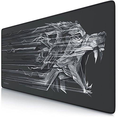 CSL - Titanwolf XXL Speed Gaming Mauspad - 900 x 400mm - XXL Mousepad - Tischunterlage mit Titanwolf-Motiv - verbessert Przision und Geschwindigkeit - Stabiler Halt...
