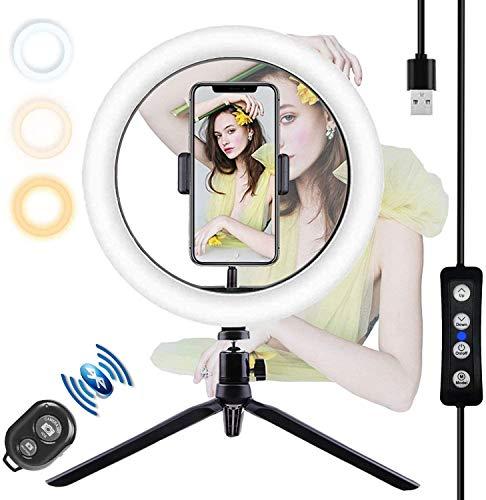 YATWIN 10.2 Zoll Selfie Ringleuchte Handy Stativ mit Fernbedienung,Selfie RingLicht mit 3 dimmbare Lichtmodi und 10 Helligkeitsstufen für Schöne Fotos, oder...