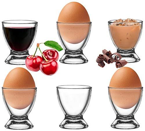 PLATINUX Eierbecher Set aus Glas 6 Teilig Eierständer Eierhalter Frühstück Brunch Egg-Cup
