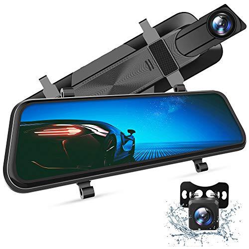 VanTop H610 Spiegel Dashcam Auto vorne hinten, 2,5K Autokamera mit 10' Touchscreen, Nachtsicht mit Sony STARVIS Sensor, 1080P Rückfahrkamera, Loop-Aufnahme,...