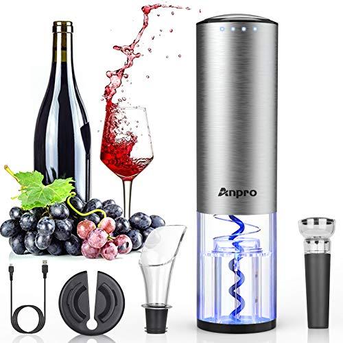 Anpro Korkenzieher Elektrisch, Elektrischer Korkenzieher Set, Automatische Weinöffner Flaschenöffner mit Folienschneider, Vakuum Stopper und Ausgießer, Silber