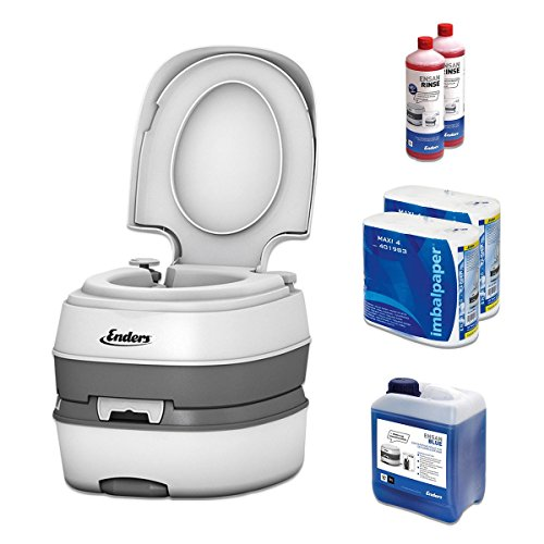 Camping Toilet Starter Set Blue 5,0 Enders Deluxe [4994]: incl. Sanitary liquid and toilet paper - mobile chemical toilet Campingklo Camping-Toilet