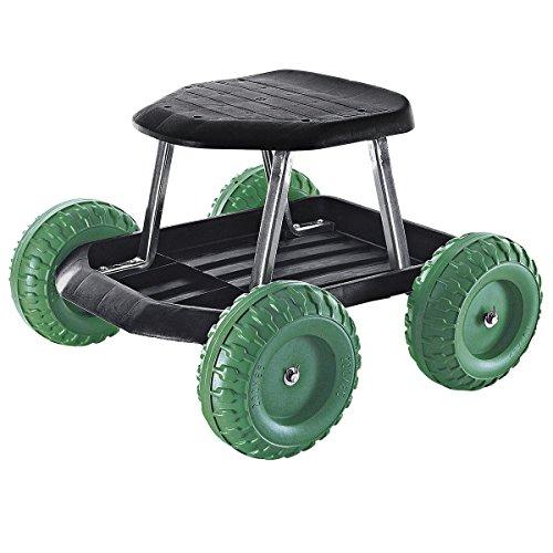 TRI Rollsitz für Gartenarbeit, mobiler Gartensitz, Hocker mit Rollen, Ablageschale, leicht, Sitzhöhe 33 cm, rückenschonend