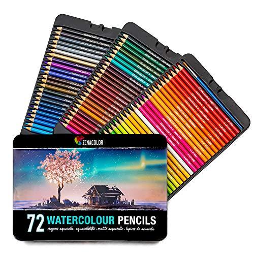 Zenacolor Aquarellstifte - 72 Aquarell Farbstifte mit Pinsel in Metallhülle - einzigartige, wasserlösliche Buntstifte von hoher Qualität für Kinder und...