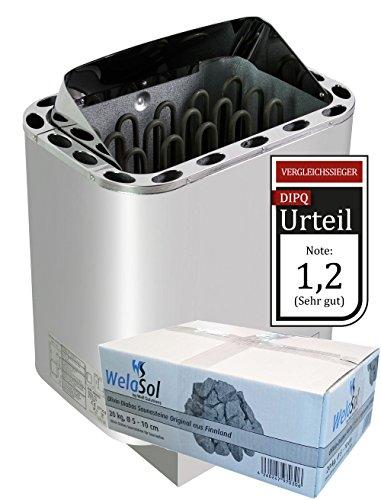 WelaSol Edelstahl Saunaofen Next von 8 kW | für finnische Sauna von 7-13 m³ | geeignet für externe Steuerung bis 9 kW d.h. ohne integrierter Steuerung | mit...