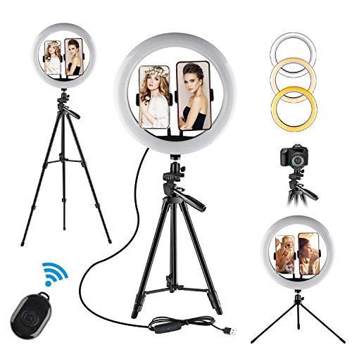 Ringlicht Mit Stativ, 12'/ 30cm Ringlicht, 3 Beleuchtungsmodi und 10 Einstellbarer Helligkeit,Desktop-Ständer,Bluetooth-Empfänger für YouTube Vine Self-Porträt...