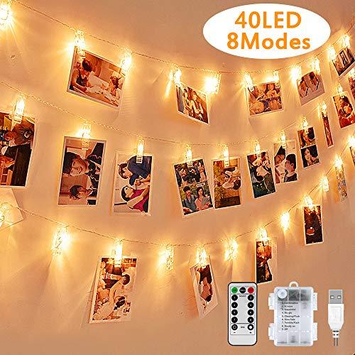 LED Fotoclips Lichterkette, mehrweg 5 Meter/Lichterketten-8 Modi 40 Foto-Clips, USB/Batteriebetrieben Stimmungsbeleuchtung,Dekoration für...