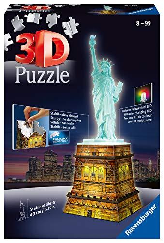 Ravensburger 3D Puzzle Freiheitsstatue bei Nacht, für Kinder und Erwachsene, Wahrzeichen von New York im Miniatur-Format, Leuchtet im Dunkeln