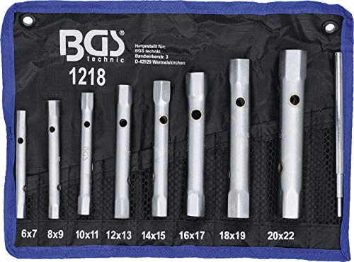 BGS 1218   Rohrsteckschlüssel-Satz   9-tlg.   SW 6 x 7 - 20 x 22 mm   metrisch   inkl. Tetron-Rolltasche