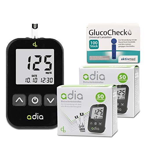 adia verensokerimittari (mg) + 110 verensokerin testiliuskat + 110 Lancets -säästöpakkaus verensokerin omavalvontaan diabeteksen suhteen