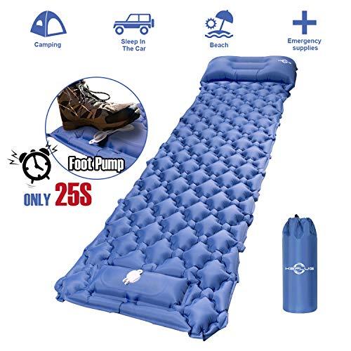 KEPLUG Isomatte selbstaufblasend Camping, luftmatratze Camping mit Fußpresse Ultraleicht, ufblasbare matratze für Camping, Strand, Reise, Outdoor, Wandern...