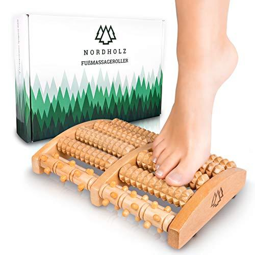 Hochwertiger Fußroller zur Stressreduzierung und Entspannung durch Triggerpunkt-Therapie - Fußmassage perfekt für Zuhause & Büro - Fußmassageroller Holz zur...