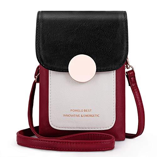 Pomelo Best Damen Handy Umhängetasche kleine Crossbody Tasche für Damen Mädchen (Schwarz/Rot)