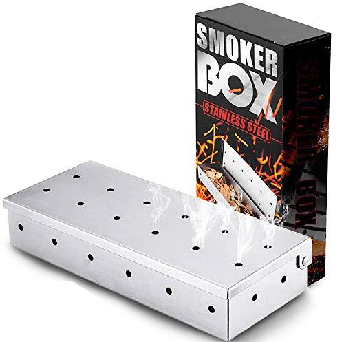 WELLXUNK Räucherbox,Räucherbox Gasgrill - Edelstahl - 22.2 x 9.6 cm, für Smoker, Holzkohle- Und Gasgrills