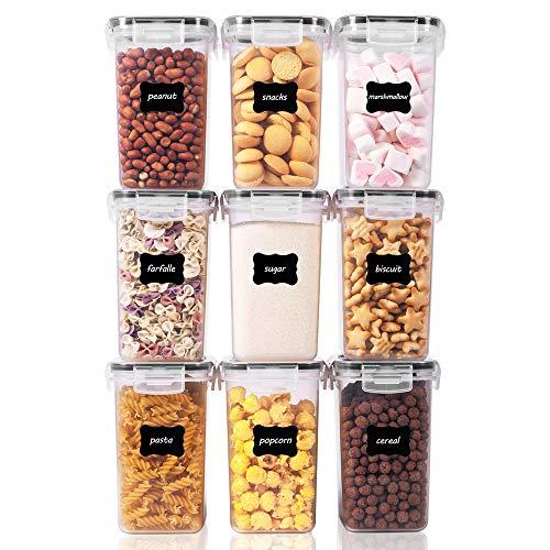 Vtopmart 1.6L Vorratsdosen Set, Müsli Schüttdose & Frischhaltedosen, BPA frei Kunststoff Vorratsdosen luftdicht,Trockenfutterbehälter, Satz mit 9, 24 Etiketten...