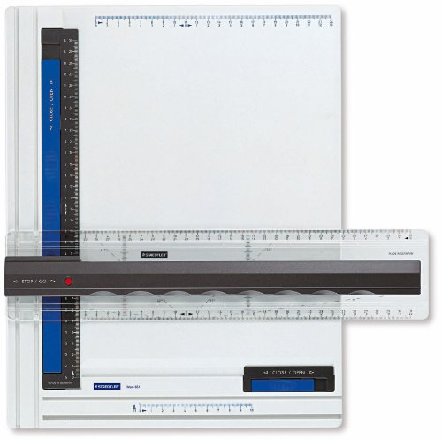 Staedtler drawing board Mars, 661 A4, DIN A4, high quality, made of impact and unbreakable plastic, parallel drawing rail, double groove guide, white