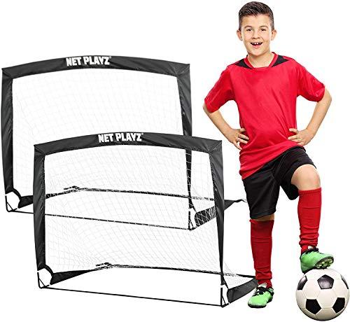 NET PLAYZ - 2er Set faltbar Tor - Fußball-Tor Pop Up - Fussballtor klappbar 120 x 90 x 90 cm