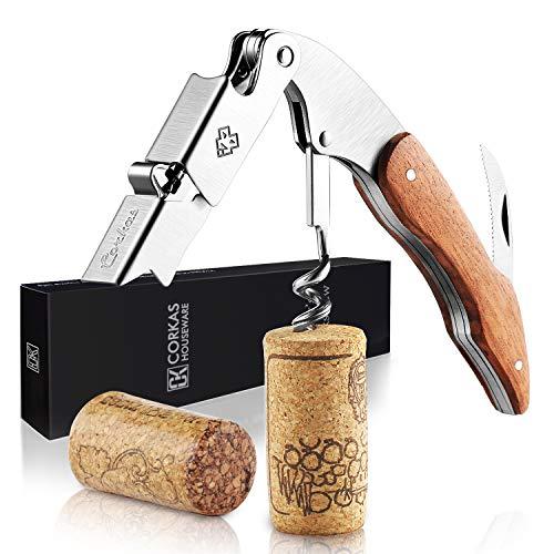 CORKAS Kellnermesser, Korkenzieher Holz mit Flaschenöffner & Folienschneider, Weinöffner aus Edelstahl zum Sommeliers, Kellner und Barkeeper