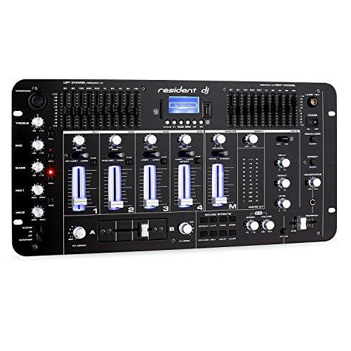 resident dj Kemistry 3BK - DJ-Mixer, 4-Kanal Mischpult, DJ-Mischpult, Bluetooth, USB-Port, SD-Slot, MP3-fähig, 2 x Cinch-Phono/Line-Eingang, XLR-/Klinken-Eingänge,...