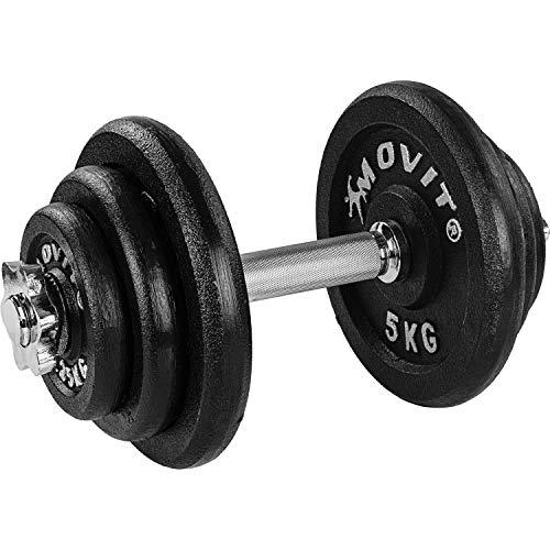 Movit® Dumbbell PRO Set, cast iron dumbbell, 1x 20kg, rod 30mm standard, handle knurled, star locks, dumbbell set dumbbell set weights