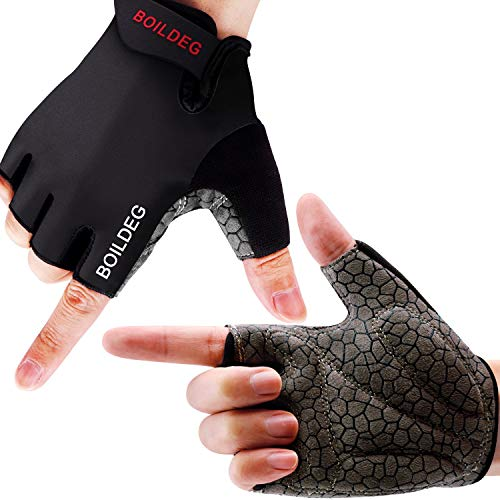 boildeg cycling gloves cycling gloves non-slip and shock-absorbing mountain bike gloves with signal color suitable unisex men women (black, M)