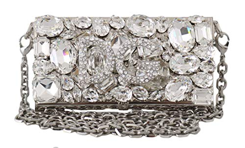 Dolce & Gabbana Damen Tasche Silver Metal Crystal Clutch Micro Cross Body BOX Bag
