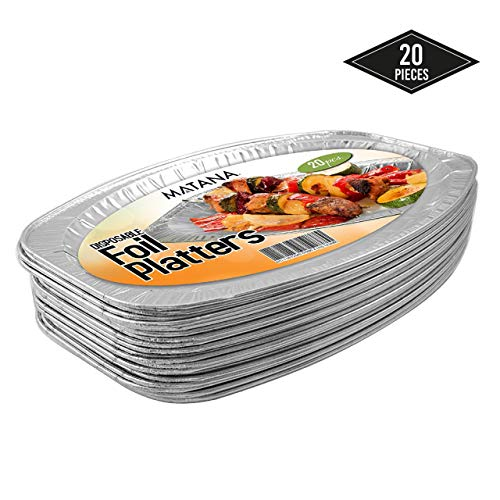 20 serving plates, oval aluminum, serving plate disposable, perfect aluminum dishes for wedding, catering, catering or party (35 x 23 cm)